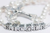 Image of Matching Pearl Rosary & Bracelet set for First Communion