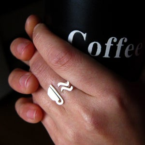 Image of Coffee Ring for Coffee Lovers- Handmade silver ring