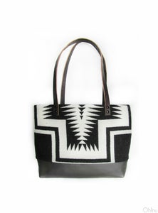 Image of Big Thunder Black and White Pendleton Wool + Leather Purse