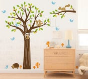 Image of NEW DESIGN - Wooldrich Woodland Land - 103 - Owl, Hedghog, Squirrel, Tree Vinyl sticker wall decal