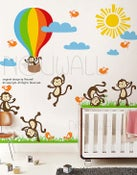 Image of Vinyl Wall Decal Wall Sticker Kids Decal - Sunny Day Monkey on Grass, hot air balloon