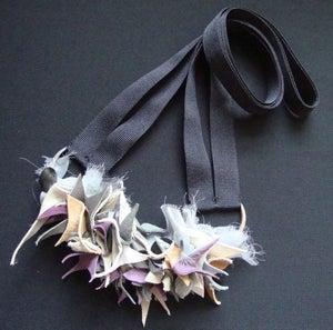 Image of Purple Grey Tan Leather Chiffon Long Necklace