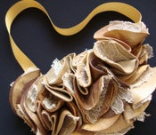 Image of Round London Tan Leather and Lace Ruffle Necklace