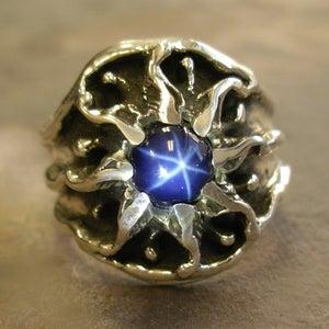 Image of Mens Unique, Custom Vintage Design Sunburst Ring