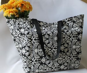 Image of Market Bag {Black Damask}