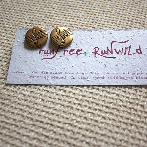 Image of Music Lovers - Recycled Button Stud Earrings