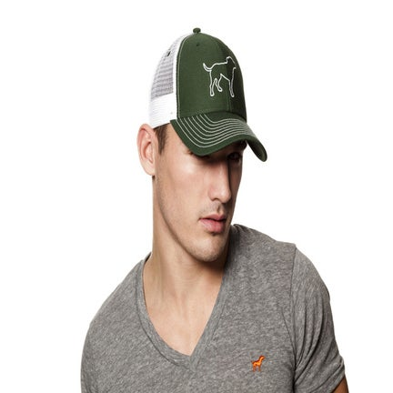 Image of guy's tiny tim hunter green/white trucker hat
