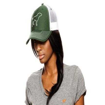 Image of girl's green/white tiny tim trucker hat