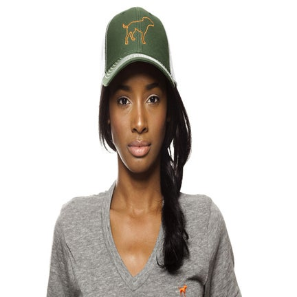 Image of girl's green/orange tiny tim trucker hat