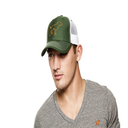 Image of guy's tiny tim hunter green/orange trucker hat
