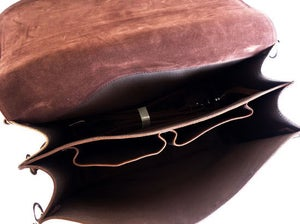 Image of Large Vintage Handmade Crazy Horse Leather Travel Bag / Satchel - Backpack / Messenger (n53-2)