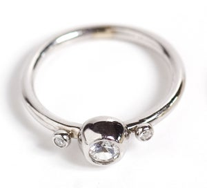 Image of White Sapphire and Diamond Ring