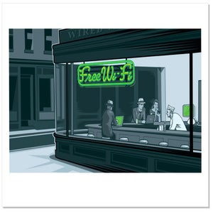 "Image of Free Wi-Fi (after Hopper), 11.7x16.5"" Archival Print"