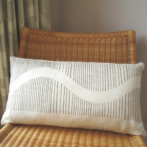 Image of Monochrome Wave Large Rectangular Cushion