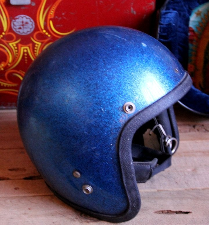 Image of 3/4 Blue Helmet with Leather Ear Flaps
