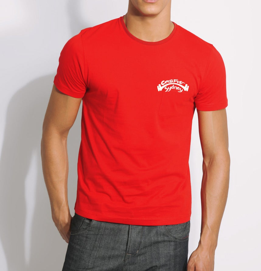 Crossfit sydney mens red t shirt for Big cartel t shirts