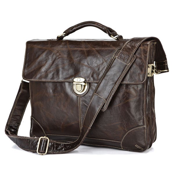 "Image of Vintage Handmade Antique Leather Briefcase / Messenger / 14"" 15"" Laptop 13"" 15"" MacBook Bag (n69)"