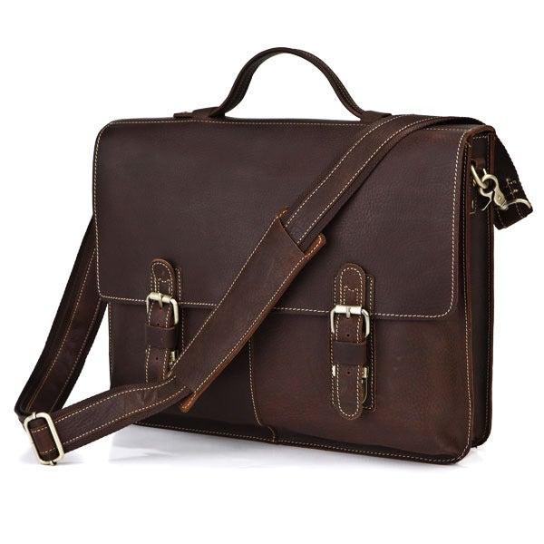 """Image of Vintage Handmade Antique Leather Briefcase / Messenger / 13"""" 14"""" Laptop 13"""" 15"""" MacBook Bag (n70)"""