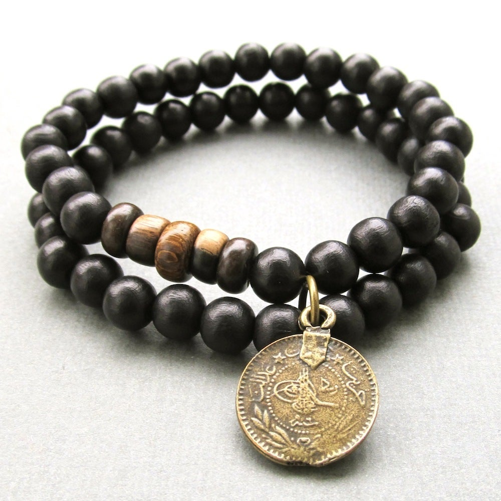 Beaded Charm Bracelets: Double Black Beaded Stretch Bracelet With Coin Charm