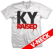 Image of KY Raised V-Neck in White/Red/Black