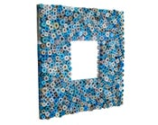 Image of Teal Mirror - Mirror Made from Recycled Magazines