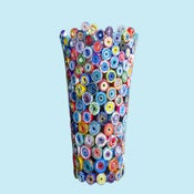 Image of Recycled Magazine Vase: colorful vase upcycled from magazines