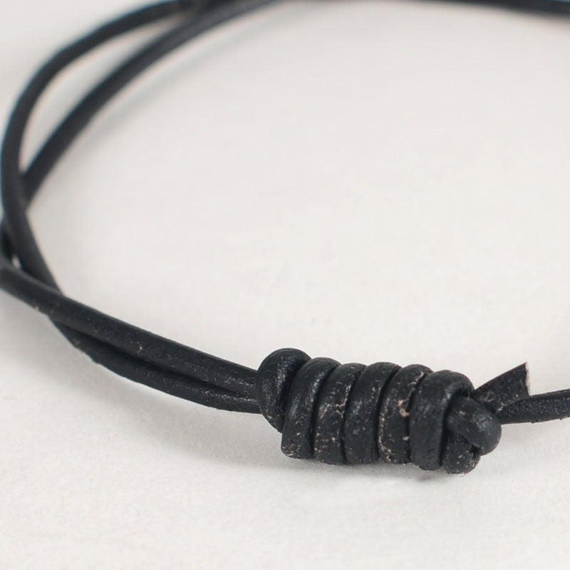 Image of Round Leather Bracelet - Black