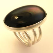 Image of Big Silver Black Onyx Ring