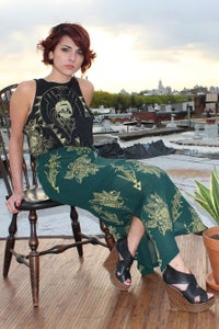 Image of Green & Gold Maxi Skirt