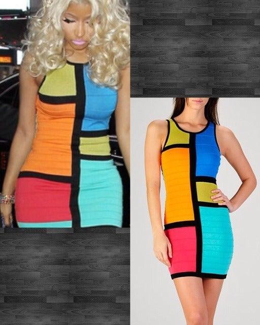 Image of Sleeveless colorblocking dress