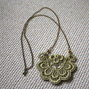 Image of Sunflower - Gold Floral Vintage Lace Necklace
