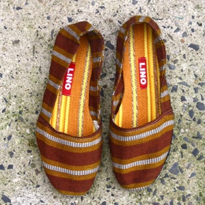 Image of Brown/Yellow Striped Espadrille