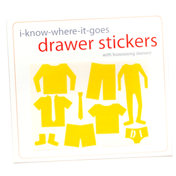 Image of Drawer Organizer Stickers - Boys with Long Sleeved Shirt