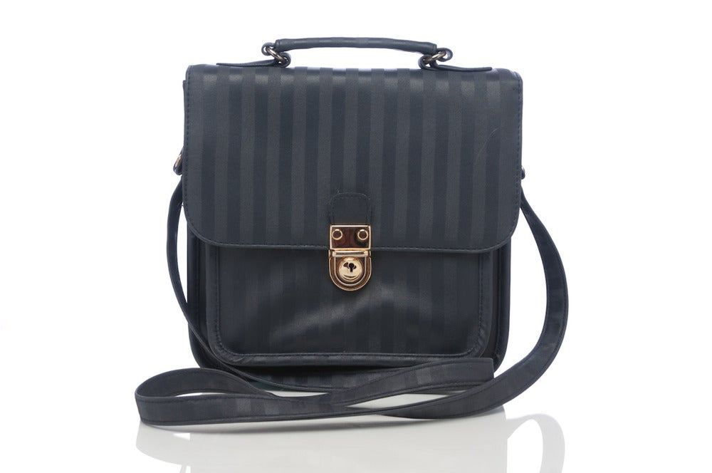 Image of Used stripes Navy Blue satchel (FREE SHIPPING)