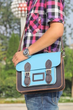 Image of Handmade Genuine Leather Satchel / Messenger Bag / Backpack - Light Blue with Ink Blue (s7)