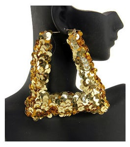 "Image of ""Nikki"" Sequin Gold Bamboo Earrings"