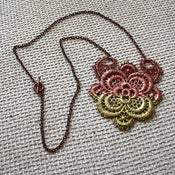 Image of Rose Gold & Gold Lace Medallion - Hand-Painted Vintage Lace Necklace