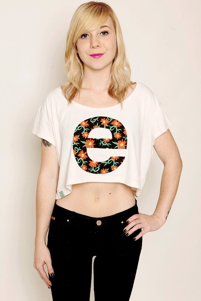 Image of FLORAL E CROP TEE