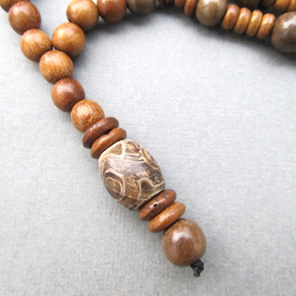 Image of Mens brown robles and grey wood beaded necklace