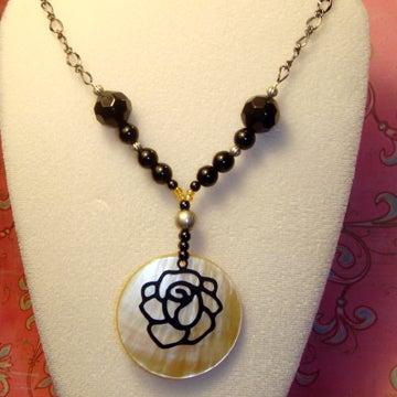 Image of Blackened Rose Necklace