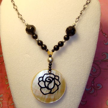 Image of Blackened Rose Necklace