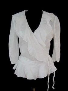 Image of Ralph Lauren Ruffle Wrap Top XL White