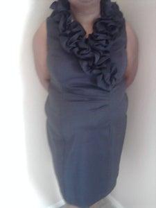 Image of Black Ruffle Neck Xscape Dress 16W