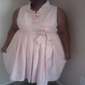 Image of Soft Pink Jessica Howard Full Skirt Ruffle Neck Taffeta Dress Sz 16