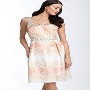 Image of Carmen Marc Valvo Rhinestone Trim Ombré Jacquard Dress 16