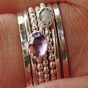 Image of Opal & Amethyst Stackable Birthstones Mothers Rings - Personalized Rings