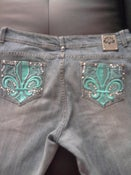 Image of Dereon Jean Size 18 Teal & Rhinestone on Back
