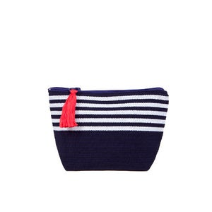 Image of Small Tassel Bag Navy/White
