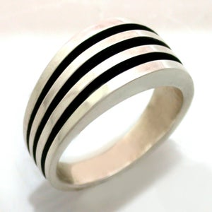 Image of Mens Heavy Sterling Silver Antiqued Ring