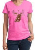 Image of Unisex V-neck Pink Peacock Tee